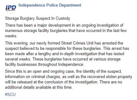 Storage Thefts Arrest